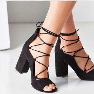 NWOT Black Suede Lace-up Open-Toe Sandals